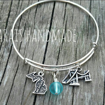 Michigan Bangle bracelet  - Michigan charm bracelet with bridge and sea glass