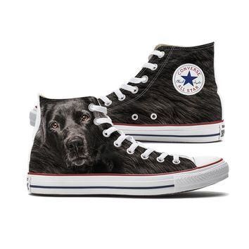Big Face Black Lab Converse High Tops
