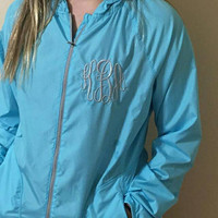Monogrammed Rain Jacket. Lightweight and several colors to choose from.