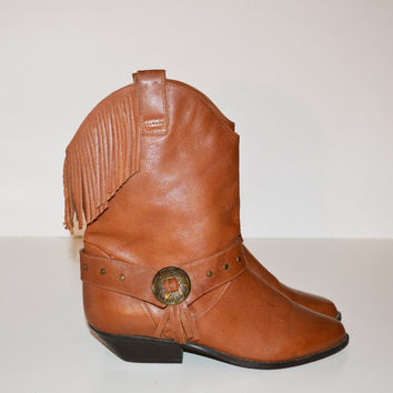 Vintage 1980s Leather Fringe Cowboy Boots Low Cut Fringe Boot Country Western Boots Size 7