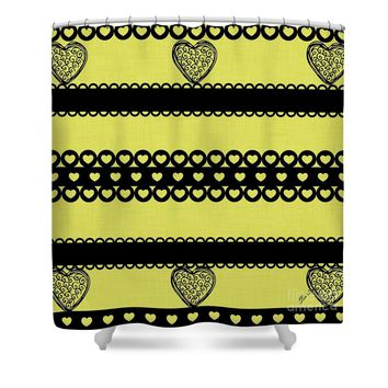 Hearts on Lime Green Shower Curtain