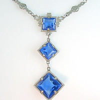 Vintage Art Deco Necklace Cobalt Blue Glass Geometric Rhodium Setting 1930s Jewelry