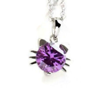 Sterling Silver and Amethyst CZ Small Cat Pendant