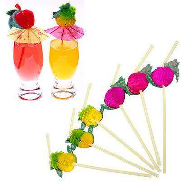 New 50Pcs Hawaiian Theme 3D Fruit Summer Party Colorful Cocktail Drink Straw Funny