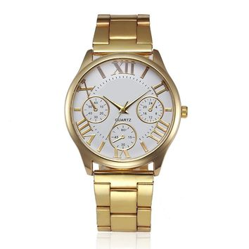 New stylish Luxury Stainless Steel Gold Watch