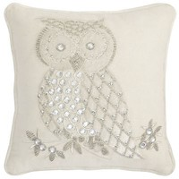 Beaded & Applique Snow Owl Pillow