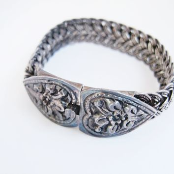 Vintage Asian Braided Silver Bracelet