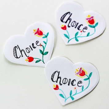 Choice: Feminist Heart Shaped Stickers