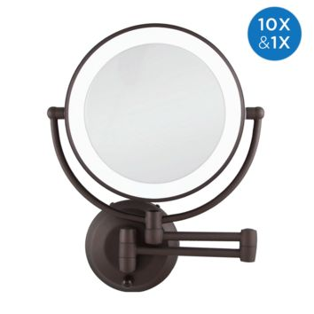 Zadro Cordless Dual LED Lighted Round Wall Mount Mirror 1X/10X, Oil Rubbed Bronze