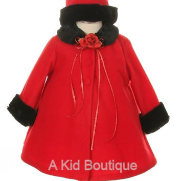 New Baby Girls A-Line Red Fleece Coat Jacket w/ Black Fur Trim & Hat Winter