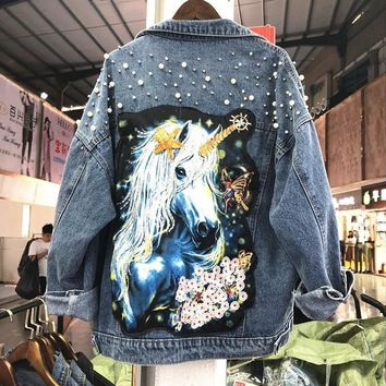 Trendy Spring Autumn 2018 New Heavy Sequins Beads Water Holes Cartoon Prints Loose Long-sleeved Denim Jacket Coat Women Casual Coats AT_94_13