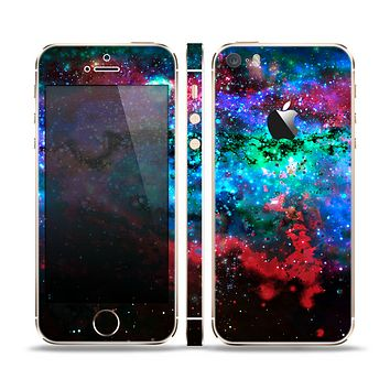 The Neon Colored Paint Universe Skin Set for the Apple iPhone 5s