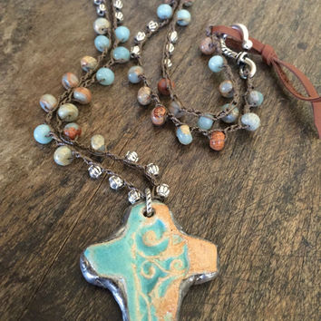 Boho Beaded Knotted Necklace Soldered Cross, Beaded Gemstone Jewelry by Two Silver Sisters
