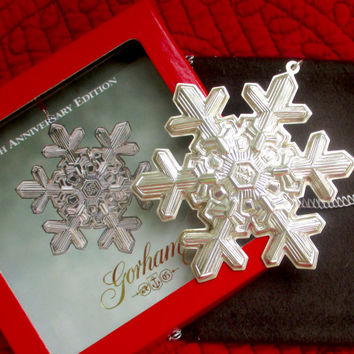 Vintage STERLING CHRISTMAS ORNAMENT Gorham 1994 Sterling Silver Annual Snowflake Ornament 25th Anniversary