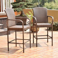 Set Of Two Outdoor Rattan Wicker Bar Chair Seat Patio Furniture With Armrest New
