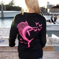 Hot pink sailfish womens fishing shirt