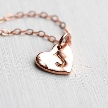172 The-ONE Sweetheart Monogram Necklace in 24K Rose Gold Vermeil - Initial, personalized, hand stamped jewelry, choose one initial