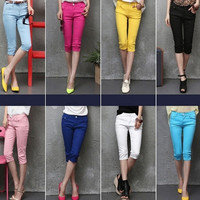 Fashion Hot Summer 2015 Women Candy Color Denim Capri Plus Size Jean Pants Skinny Casual Cropped Trousers = 1930069444