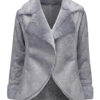 Gray Laple Faux Shearling Coat