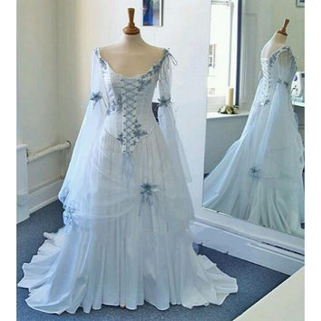 Vintage A Line Wedding Dresses White Silvery Bead V Neck Corset Long Bell Sleeves Appliques Flowers Medieval Bridal Gowns