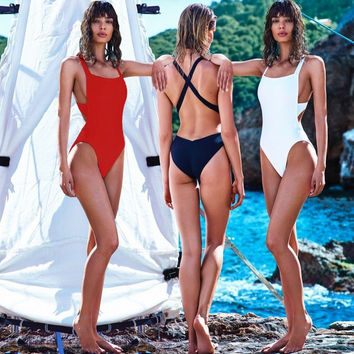 Solid Black Red White Stappy One Piece Swimsuit 2017 Large Size Monokini Swimwear Women Bathing Suit Vintage Swimming Suits