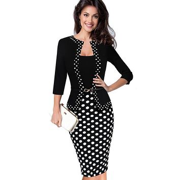Womens Autumn Retro Faux Jacket One-Piece Polka Dot Contrast Patchwork Wear To Work Office Business Sheath Dress 228