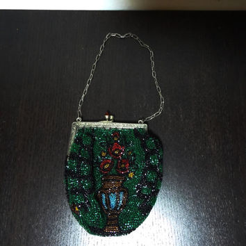 Antique Beaded Flapper Purse From 1920's or 30's with a Beaded Floral Bouquet and a Silver Frame Engraved with Feather Scroll Design