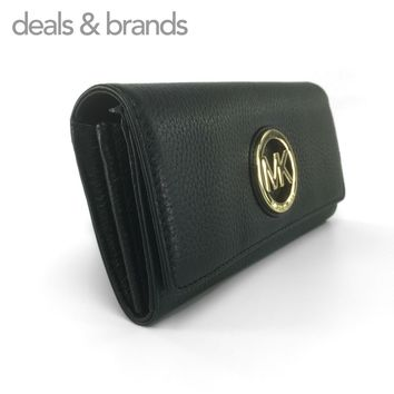 NWT MICHAEL KORS Fulton Leather Flap Continental Wallet in BLACK 35F0GFTE1L