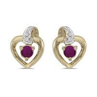 10K Yellow Gold Round Ruby and Diamond Heart Shaped Earrings