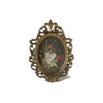 Small Brass Oval Frame Made In Italy, Miniature Still Life, Miniature Frame, Ornate Frame, Small Brass Frame, Picture Frame, Decor Frame