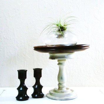 Beautiful Revamped and Repurposed Wood tray set with solid wood candle stick holders