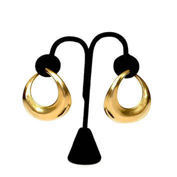 "Modernist Open Hoop Earrings, Donna karan, Vintage 1980s, Robert Lee Morris, ""Pirate"" Hoops, Gold Plated, Pierced Earrings, Designer Signed"