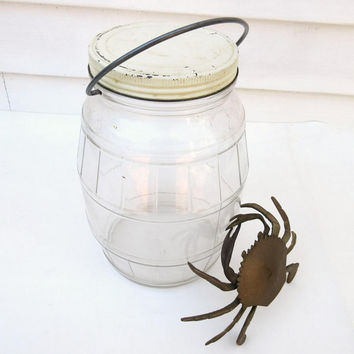 Vintage Glass Display Jar, General Store Canister, Pickle Jar, Glass Jar with Metal Lid, Country Kitchen, Terrarium