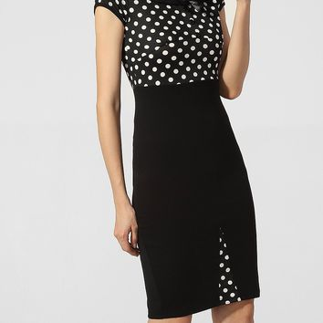 Streetstyle  Casual Doll Collar Bowknot Polka Dot Patchwork Bodycon-dress