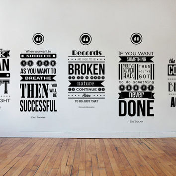 Eric Thomas, Henry Ford, Richard branson, Zig Ziglar, Napoleon Hill Inspiring Wall Decal Quotes 5 piece set wall design
