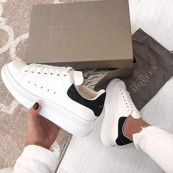 ALEXANDER MCQUEEN Classic Popular Woman Casual Sneakers Sport Shoes(Velvet Tail) Black