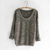 Women Warm Casual Round Neck Long Sleeve Knitted Sweater Loose Knitwear Pullovers PY1