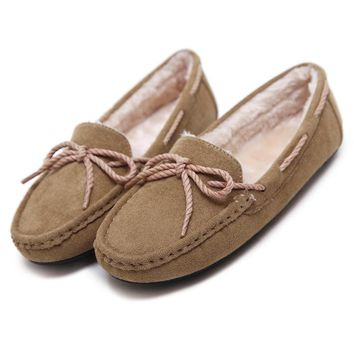 Flat ladies shoes loafers slip on women Flats Soft Knot peas shoes casual Plush winter warm low heels women shoes student mam