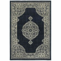 Linden Navy Grey Oriental Medallion Transitional Rug