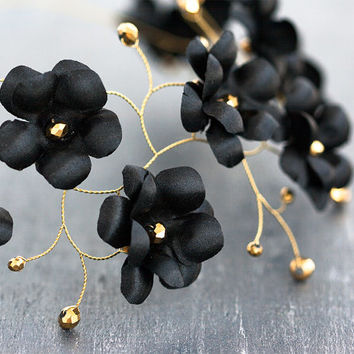 Black flower crown, Flower headdress, Gold headpiece, Tiara, Black and gold crown, Floral headpiece, Black flower headband, Gold and black.