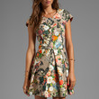 Alexis Cora Short Structured Dress With Cap Sleeves in Blooming Floral