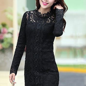 Casual Black Floral Hollow-out Pearl Band Collar Long Sleeve Lace Dress