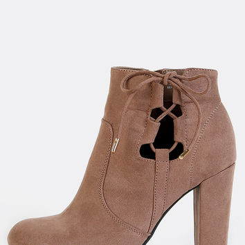 Faux Suede Almond Toe Side Lace Booties TAUPE | MakeMeChic.COM