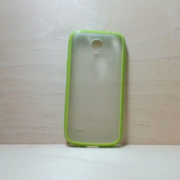 Samsung Galaxy S4 (Mini) Case Silicone Bumper and Translucent Frosted Hard Plastic Back - Grass Green