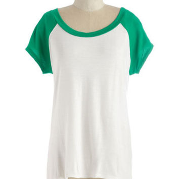 ModCloth Mid-length Short Sleeves Skates One to Know One Tee in Emerald