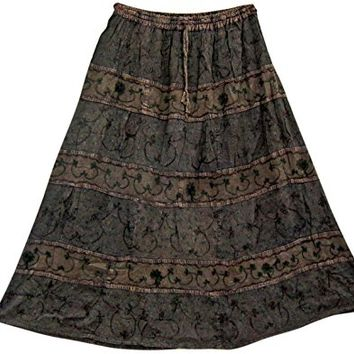 Womans Long Skirt Brown Embroidered A-Line Gypsy Hippie Medieval Skirts: Amazon.ca: Clothing & Accessories