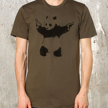 Street Art Panda Bear with Guns  - Screen Printed American Apparel T- Shirt Men's / Unisex Fit - Available in S, M, L, XL and 2XL