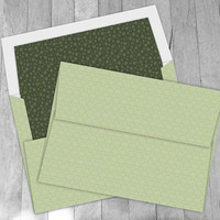 Digital A7 Envelope: Mint Green Mushroom Pattern, envelope template kit and liner, diy printable envelope, custom envelope design