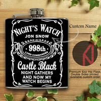 Nights Watch Jon Snow 6oz and 8oz Hip Flask