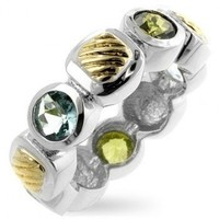 Rhodium Plated Ring with Blue & Green CZs and 14k Gold Plated Accents- Size 7